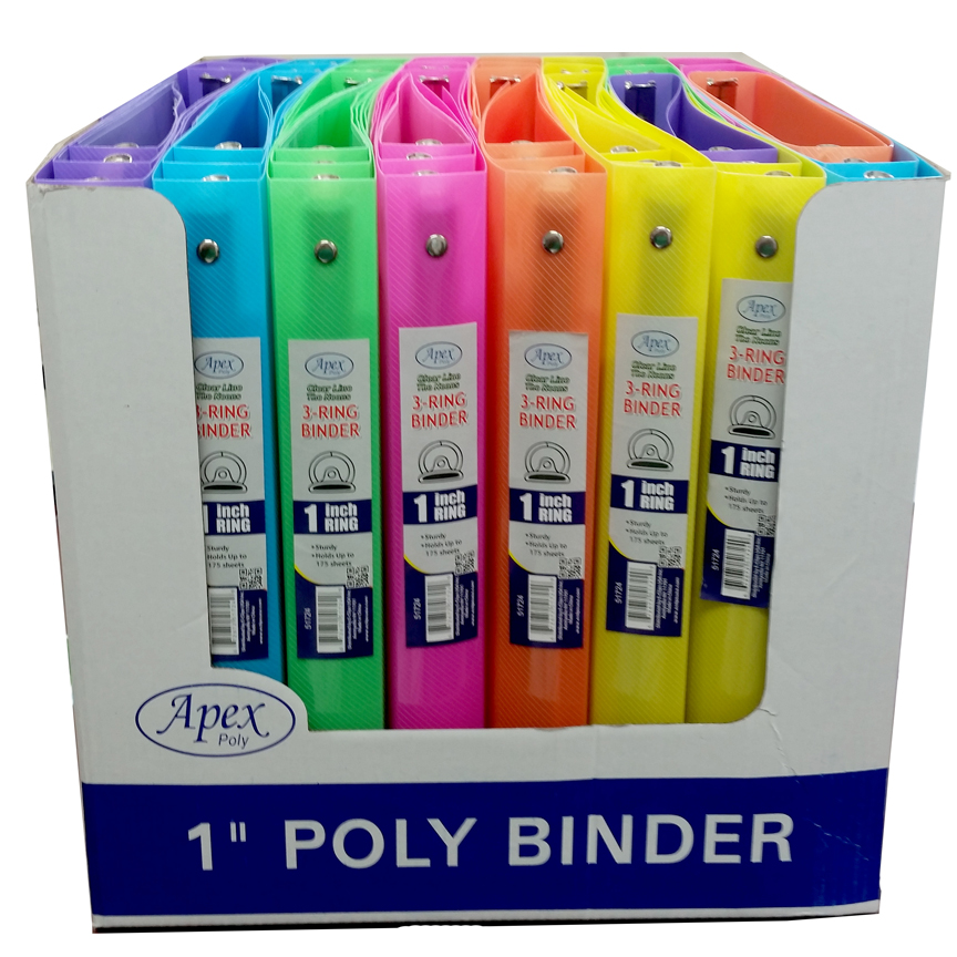 51724 Poly Binder Clear Line 1 Asst Neon Colors In