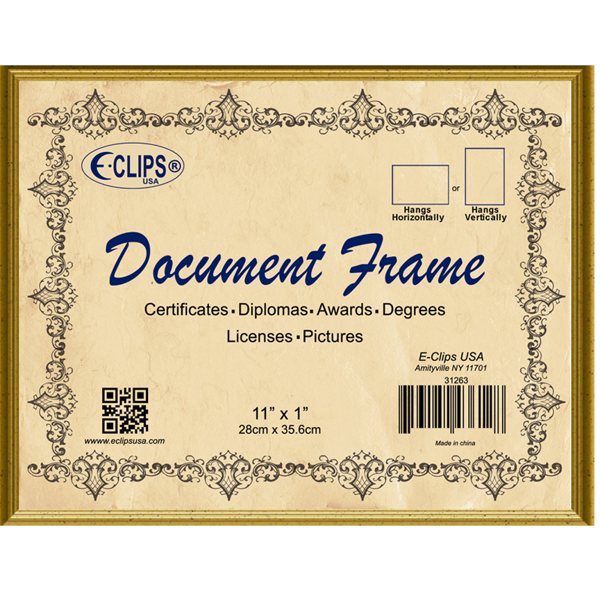 31215 Document frame, 8.5″x11″, gold – E-Clips USA
