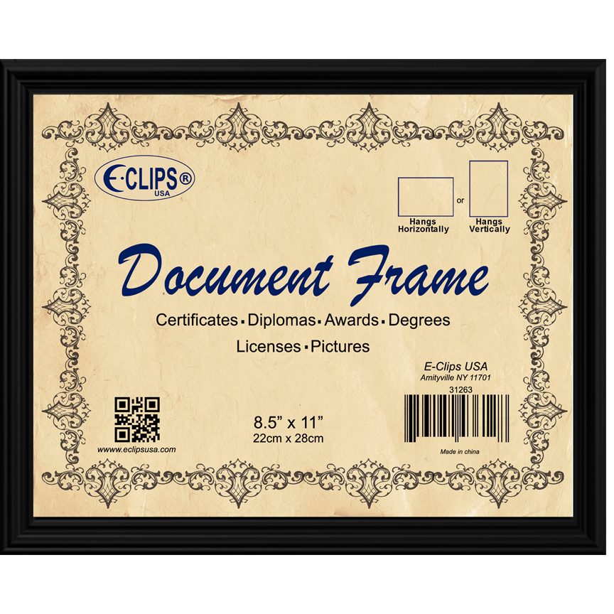 31263 Document frame, 8.5″x11″, black – E-Clips USA