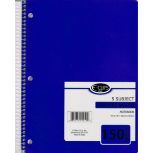 22055 5 Subject Spiral Notebook College Ruled 150 sheets – E